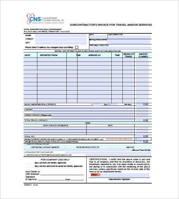 Travel Invoice Templates Free Word Excel PDF Format - Commission invoice format for service business