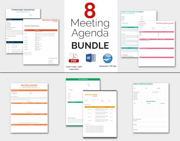 8 Amazing Meeting Agenda Templates Bundle  Free Agenda Template Word