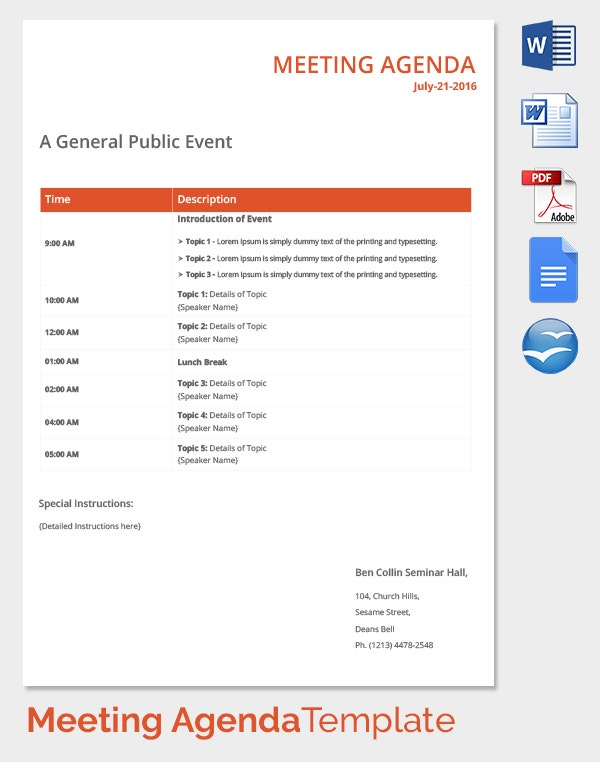 Delightful General Public Event Meeting Agenda Template  Agenda Templates