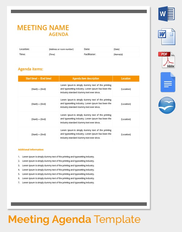 Meeting Agenda Template 46 Free Word PDF Documents Download – Template for Agenda