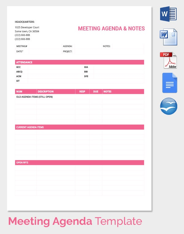Notes To Be Mentioned In Meeting Agenda Template  Microsoft Word Meeting Agenda Template