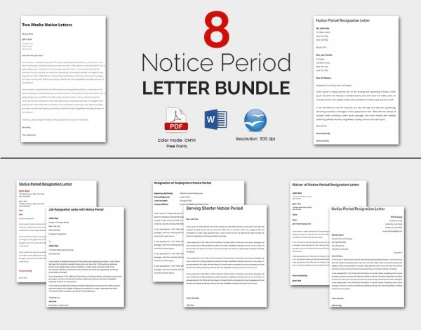 8 Notice Period Templates Bundle