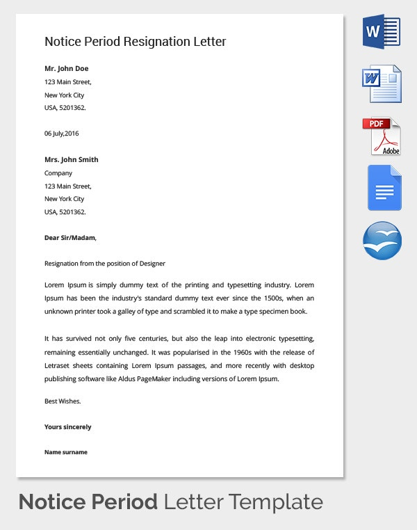 Notice Period Letter Templates  Free Sample Example Format