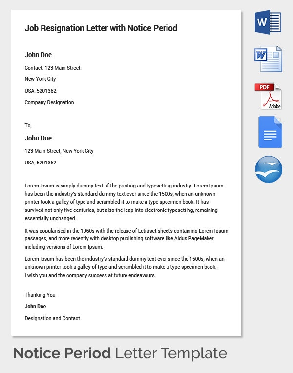 26+ Notice Period Letter Templates - Free Sample, Example Format