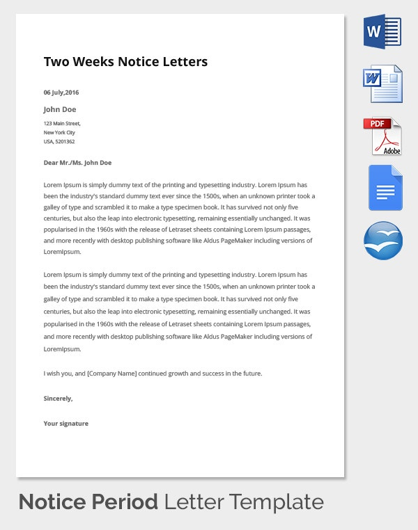 Professional Notice Period Template