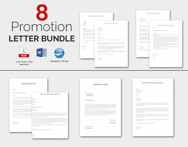8 Well Organised Promotion Letter Templates Bundle