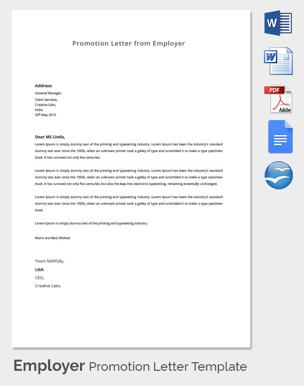 Employer Promotion Letter Template
