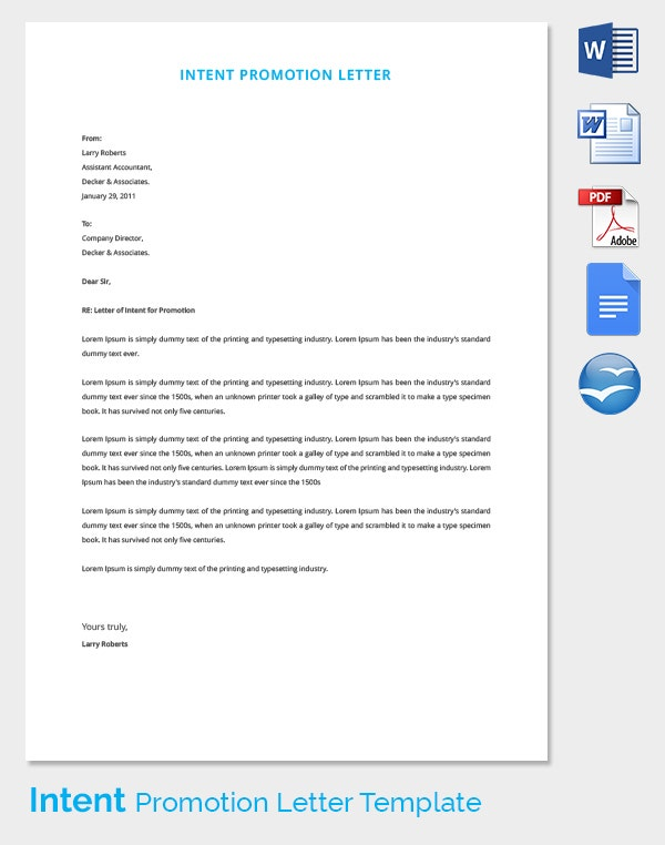 Intent Promotion Letter Template