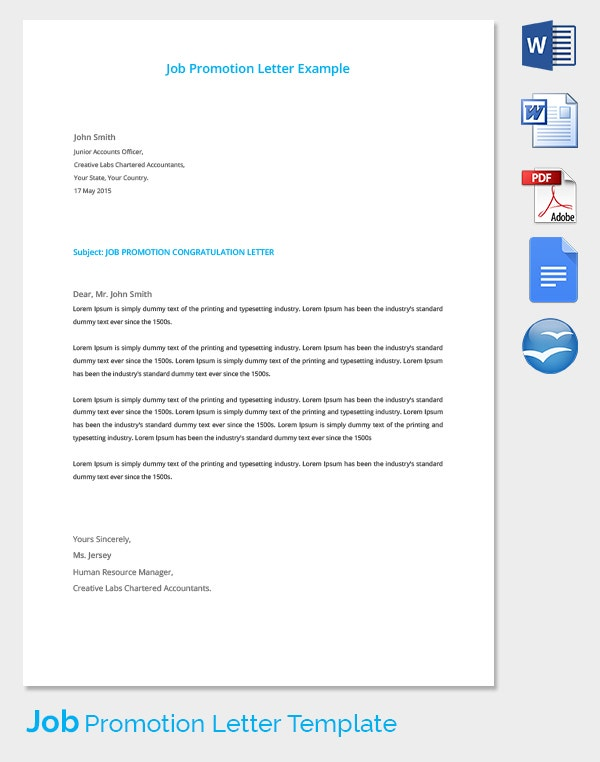 Job Promotion Letter Example Template