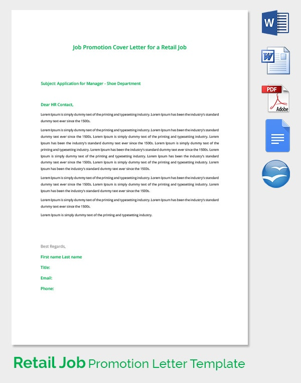Cover letter for inhouse promotion for Applying for a promotion cover letter