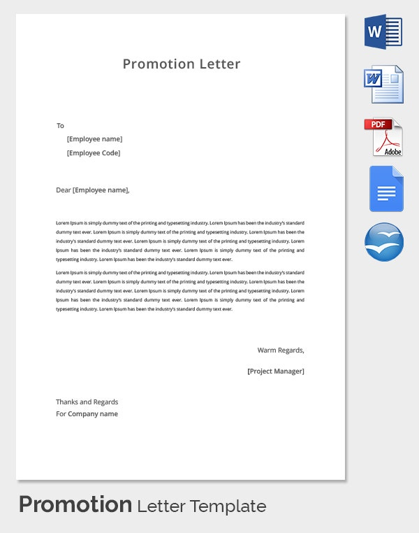 Sample of application letter for job promotion best free for Business promotion email template