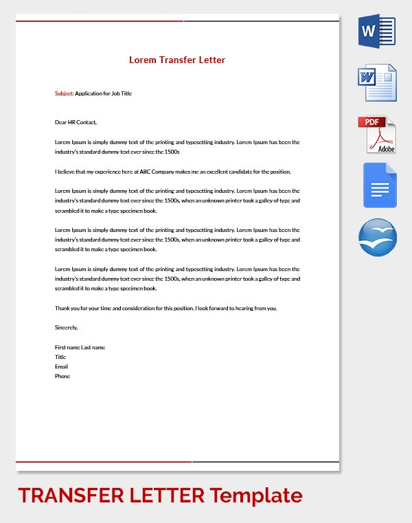 HR Transfer Letter Template