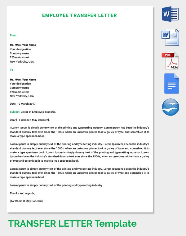 Letter of Employee Transfer