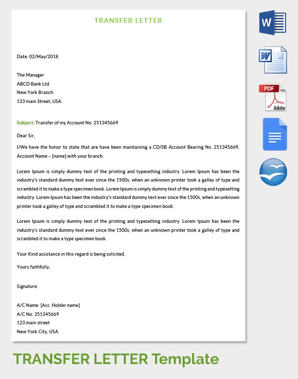 Transfer of Bank Account Letter Template Template net