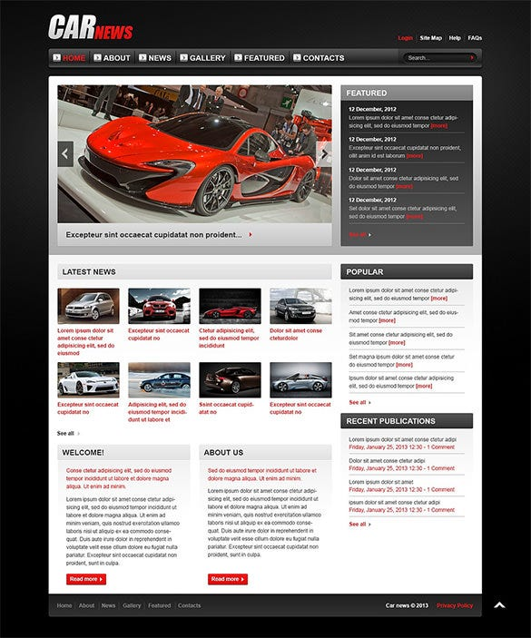 classic racing car joomla template