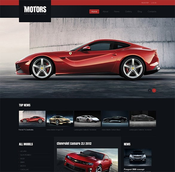 black car racing joomla template