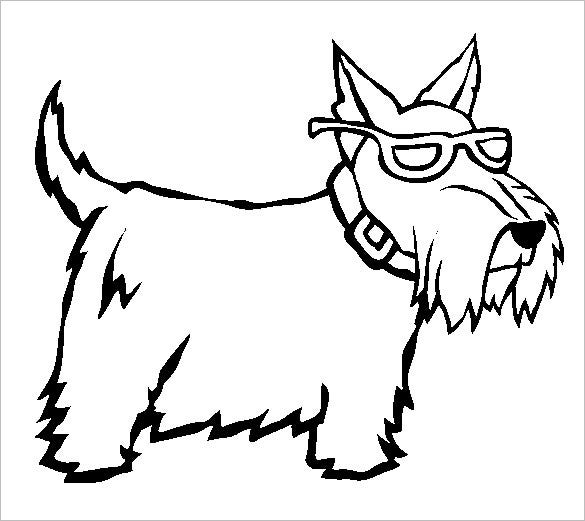 stylish scottie dog coloring template