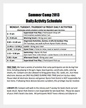 summer camp daily activity schedule template pdf format