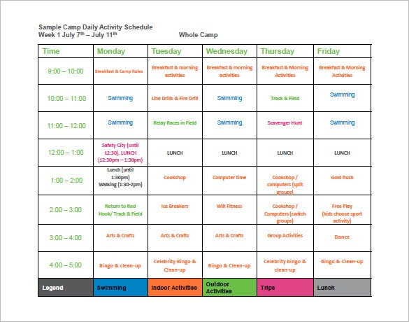 free download camp daily activity schedule template pdf