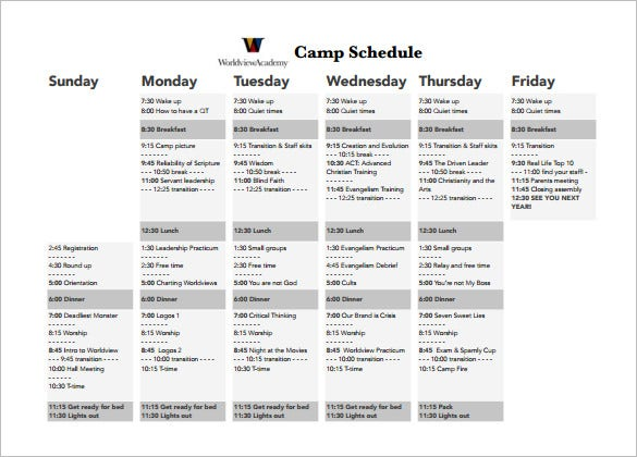 weekly camp schedule template pdf download