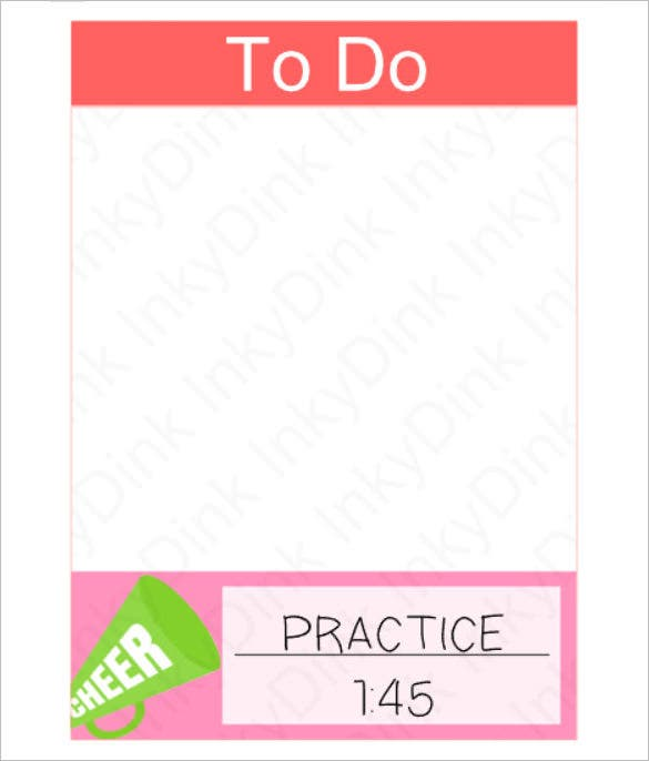 blank cheer practice schedule template download