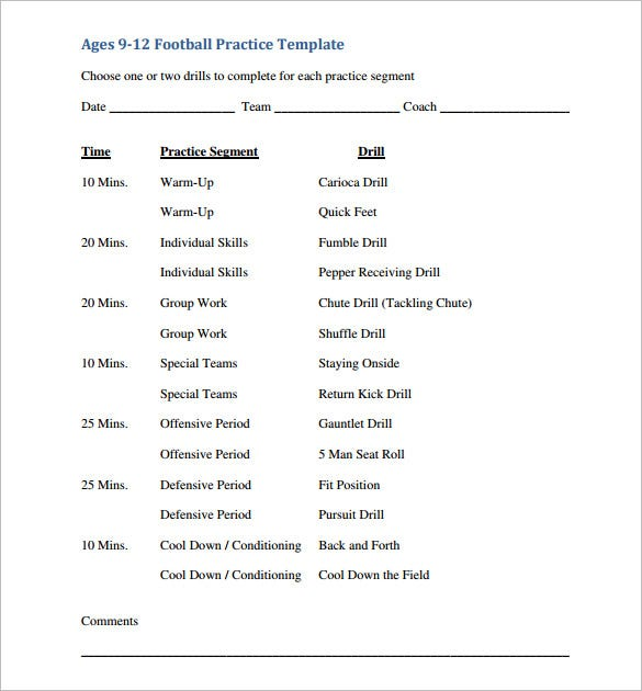 11 practice schedule templates doc pdf free for Football practice schedule template
