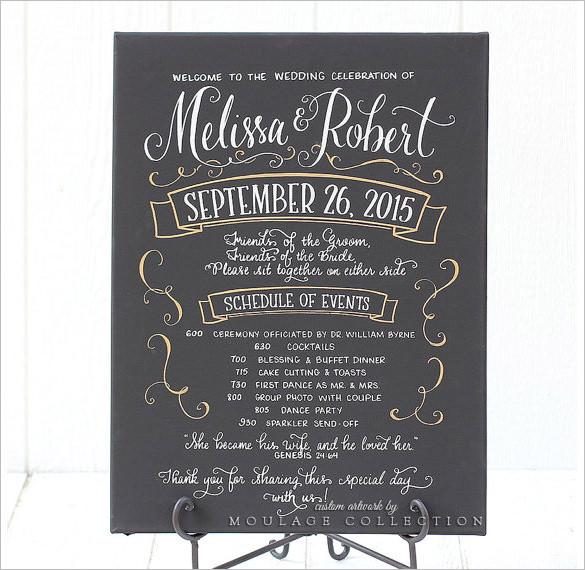 sample chalkboard wedding program schedule template download