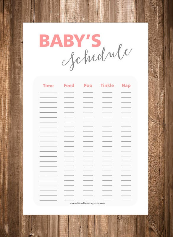 sleep log baby schedule template pdf sample