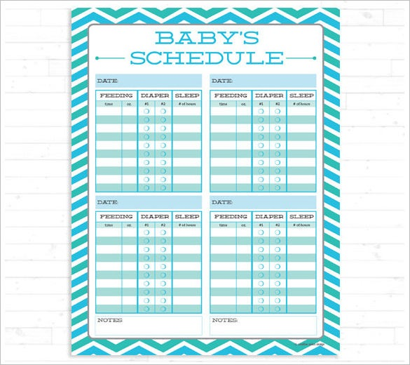 printable baby feeding schedule instant download