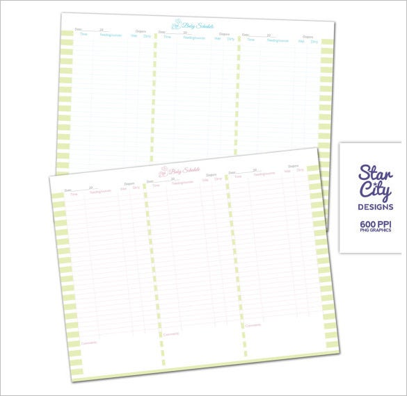 boy and girl sample baby schedule chart download