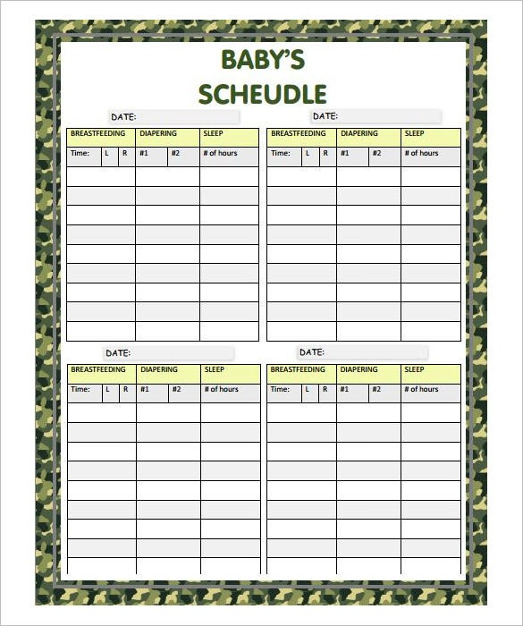 9 baby schedule templates doc pdf psd free premium for Baby routine template