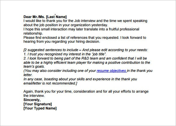 interview thank you email template 6 free word excel pdf format