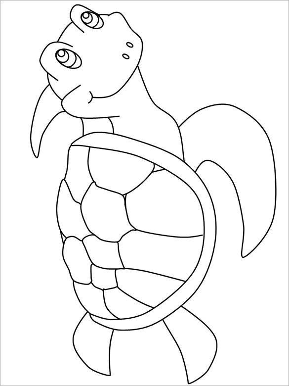 happy sea turtle template