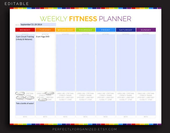Exercise Schedule Template   Free Sample Example Format