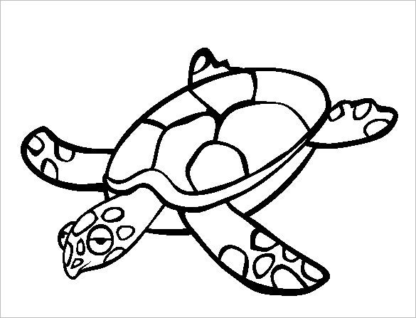 turtle sleepy coloring template