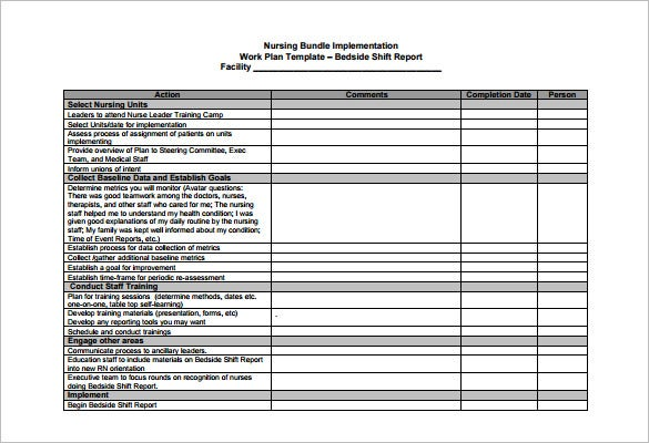 Nursing Schedule Template   Free Sample Example Format