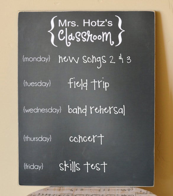 personalized classroom teacher scheule sign sample