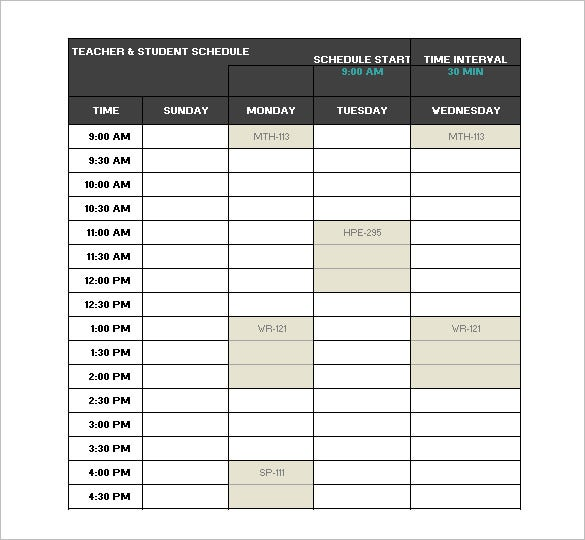 timetable templates for teachers - teacher schedule template 9 free sample example format
