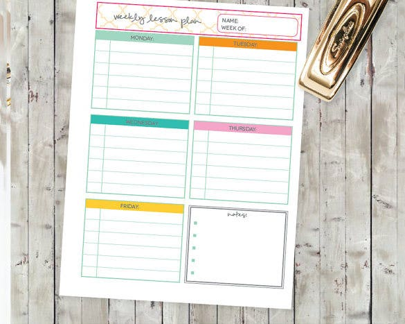 sample homeschool teachers lesson schedule printable