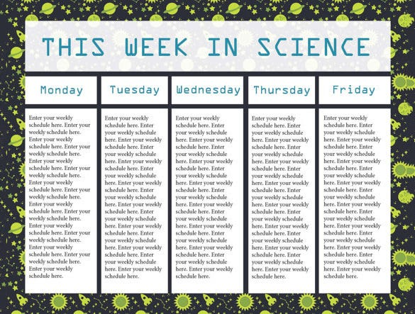 editable science class teacher schedule template download