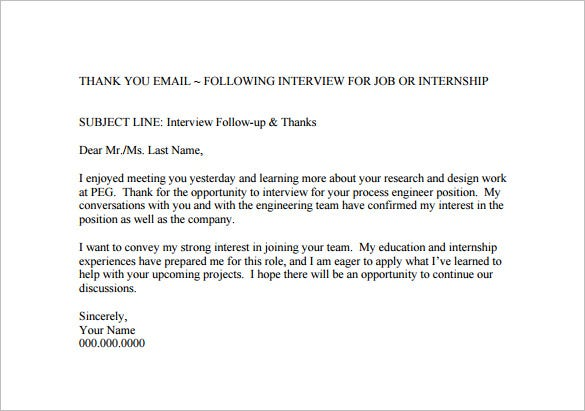 Thank You Email After Job Interview   Free Sample Example