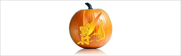 graphic relating to Printable Pumpkin Template called 16+ Printable Tinkerbell Pumpkin Templates Patterns! Free of charge