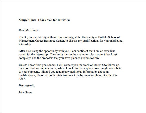 Post Interview Thank You Email for Internship Example PDF Template