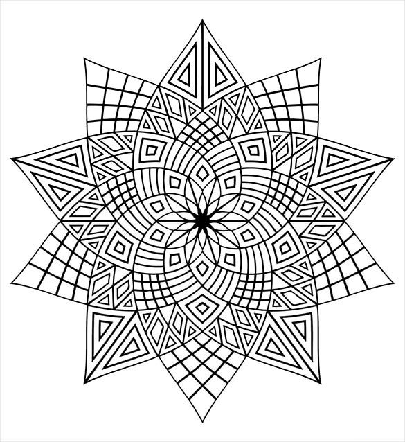 star shaped mandala coloring page