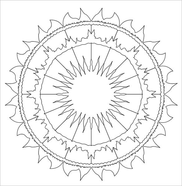 sun shaped mandala template
