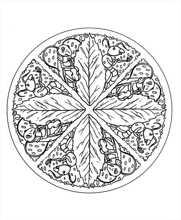 mandala colorig leaves template