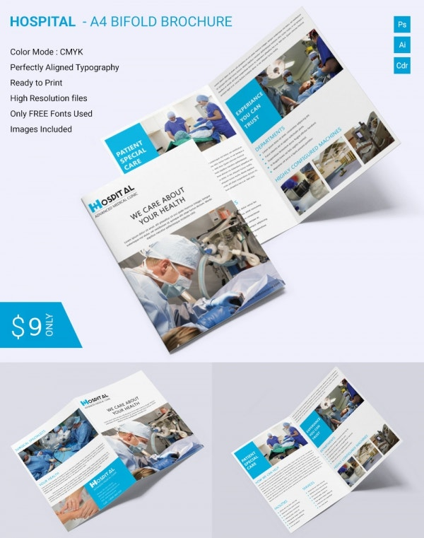 Beautiful Hospital A4 Bi Fold Brochure Template Download Free