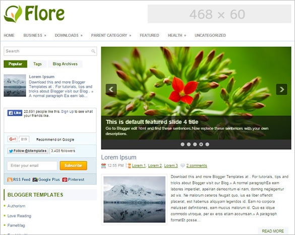 fantastic flore blogger template