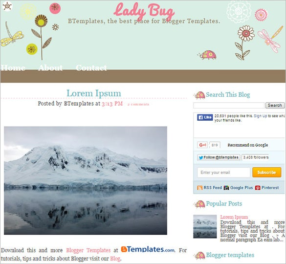 lady bug floral blogger template