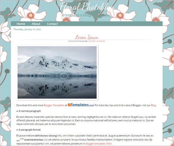 floral photoblog blogger template